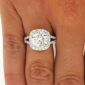 3.50 Ct Round Cut Cushion Halo Diamond Engagement Ring 14K White Gold