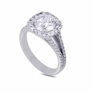 3.6 Carat Round Cut Diamond Engagement Ring 14K White Gold