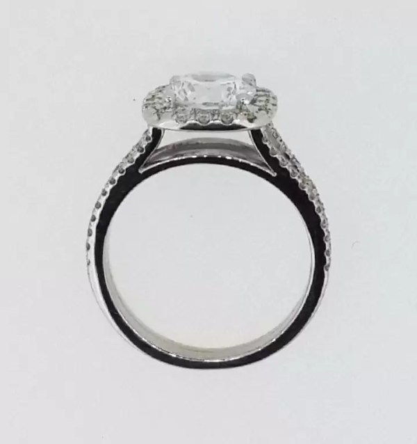 3.6 Carat Round Cut Diamond Engagement Ring 14K White Gold 4