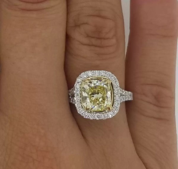 3.75 Carat Cushion Cut Diamond Engagement Ring 18K White Gold 2