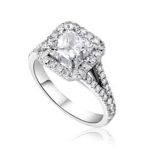 4 Carat Princess Cut Diamond Engagement Ring 14K White Gold