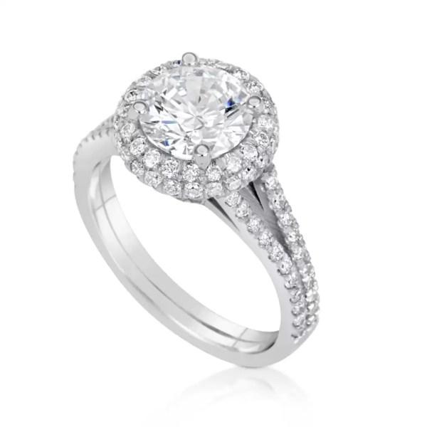 4.1 Carat Round Cut Diamond Engagement Ring 18K White Gold 4