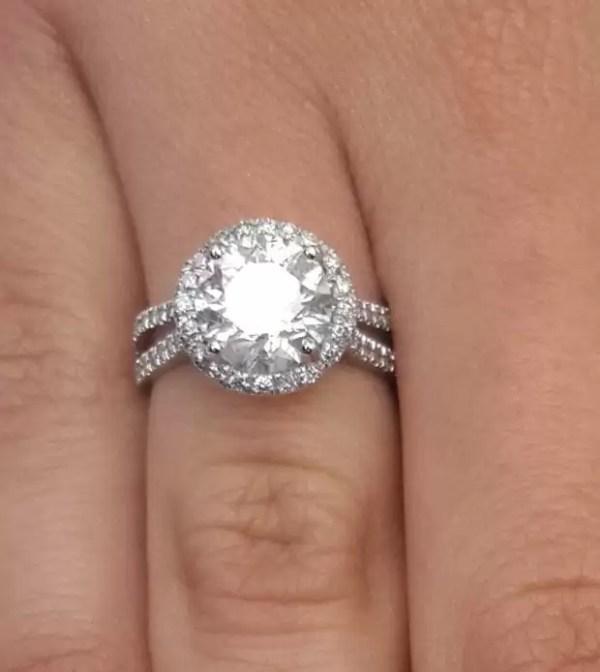 4.25 Carat Round Cut Diamond Engagement Ring 18K White Gold 3