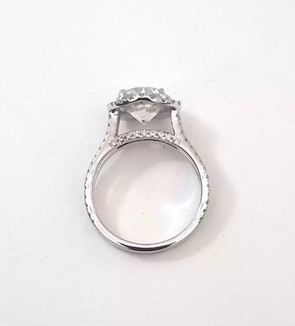 4.25 Carat Round Cut Diamond Engagement Ring 18K White Gold 4