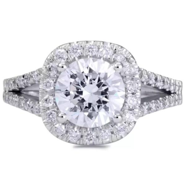 4.5 Carat Round Cut Diamond Engagement Ring 14K White Gold 4