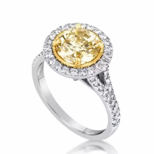 4.5 Carat Round Cut Diamond Engagement Ring 18K White Gold