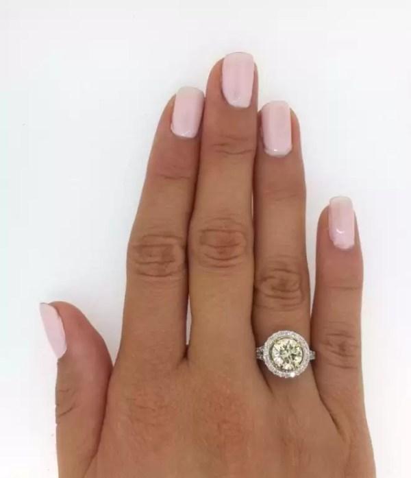 4.5 Carat Round Cut Diamond Engagement Ring 18K White Gold 3