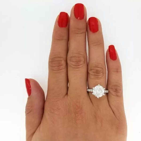 4.55 Carat Round Cut Diamond Engagement Ring 14K White Gold 2
