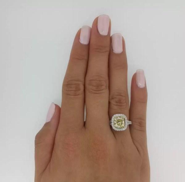 5 Carat Cushion Cut Diamond Engagement Ring 18K White Gold 3