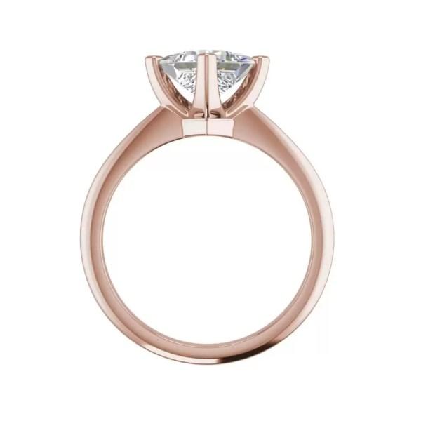 4 Prong 0.75 Carat VS1 Clarity F Color Princess Cut Diamond Engagement Ring Rose Gold 2