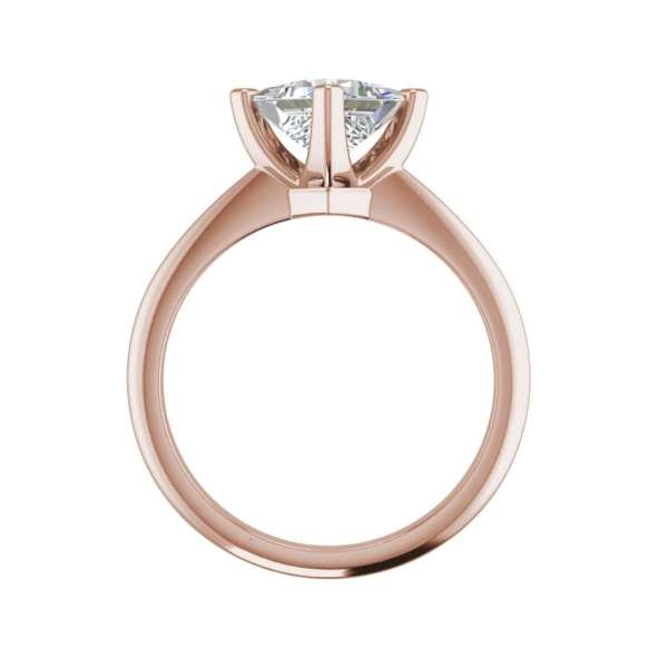 4 Prong 0.75 Carat VS1 Clarity F Color Princess Cut Diamond Engagement Ring Rose Gold 2