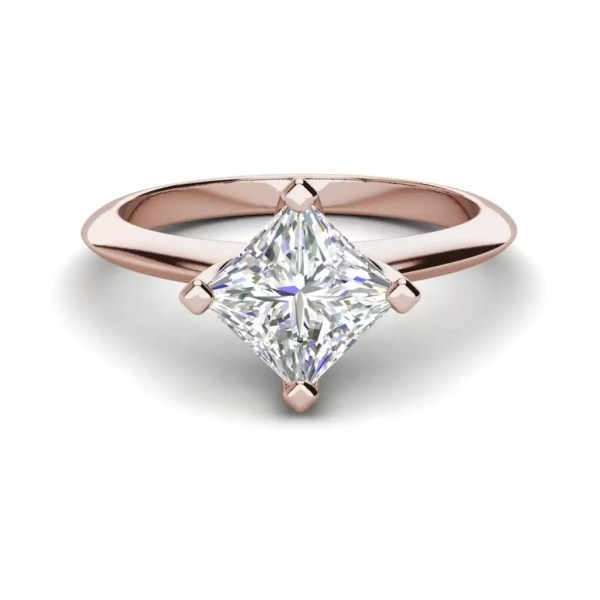 4 Prong 0.75 Carat VS1 Clarity F Color Princess Cut Diamond Engagement Ring Rose Gold 3