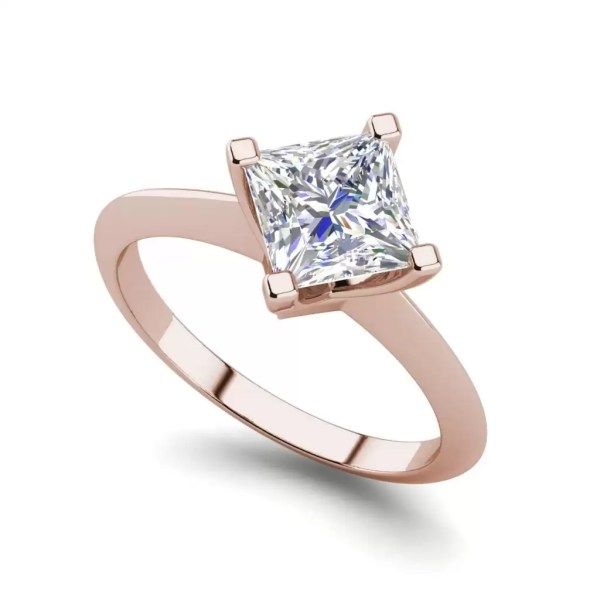 4 Prong 1 Carat VS2 Clarity D Color Princess Cut Diamond Engagement Ring Rose Gold