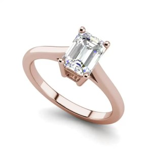 4 Prong 2.25 Carat VS2 Clarity D Color Emerald Cut Diamond Engagement Ring Rose Gold