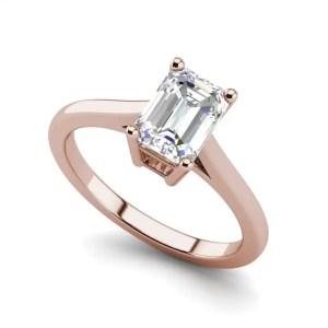 4 Prong 2.25 Carat VS2 Clarity D Color Emerald Cut Diamond Engagement Ring Rose Gold