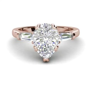 Baguette Accents 1.25 Ct VVS2 Clarity F Color Pear Cut Diamond Engagement Ring Rose Gold 3