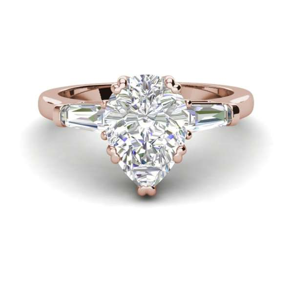 Baguette Accents 1.5 Ct VVS1 Clarity D Color Pear Cut Diamond Engagement Ring Rose Gold 3