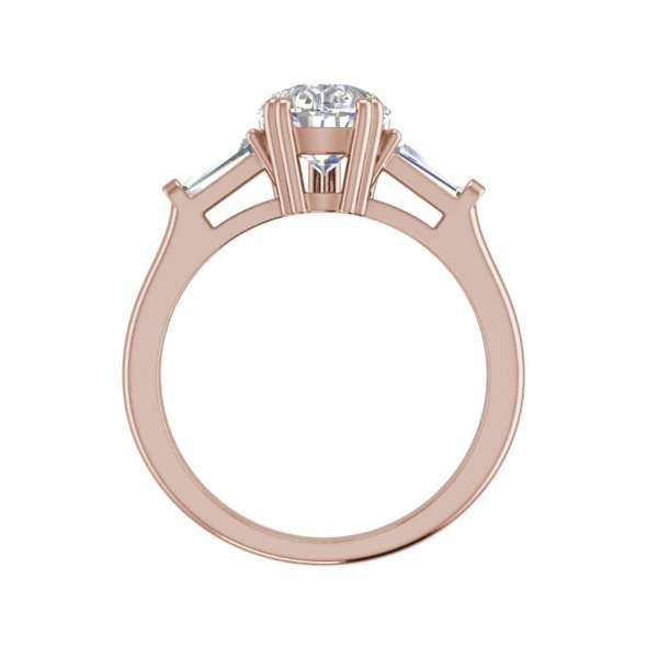 Baguette Accents 2 Ct VVS1 Clarity D Color Pear Cut Diamond Engagement Ring Rose Gold 2
