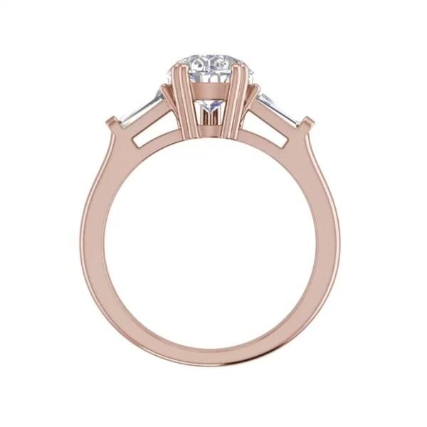 Baguette Accents 2 Ct VVS1 Clarity D Color Pear Cut Diamond Engagement Ring Rose Gold 2