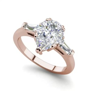 Baguette Accents 3 Ct SI1 Clarity D Color Pear Cut Diamond Engagement Ring Rose Gold