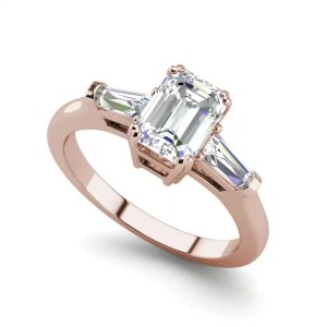Baguette Accents 3 Ct VVS2 Clarity F Color Emerald Cut Diamond Engagement Ring Rose Gold
