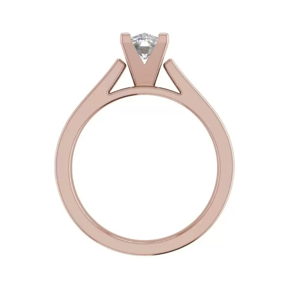 Cathedral 0.9 Carat VS2 Clarity H Color Oval Cut Diamond Engagement Ring Rose Gold 2