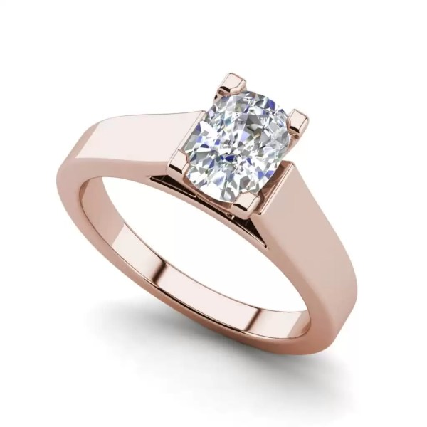 Cathedral 1.5 Carat VS2 Clarity F Color Oval Cut Diamond Engagement Ring Rose Gold