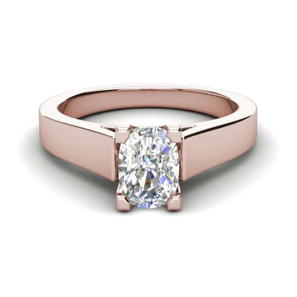 Cathedral 1.75 Carat VS2 Clarity H Color Oval Cut Diamond Engagement Ring Rose Gold 3