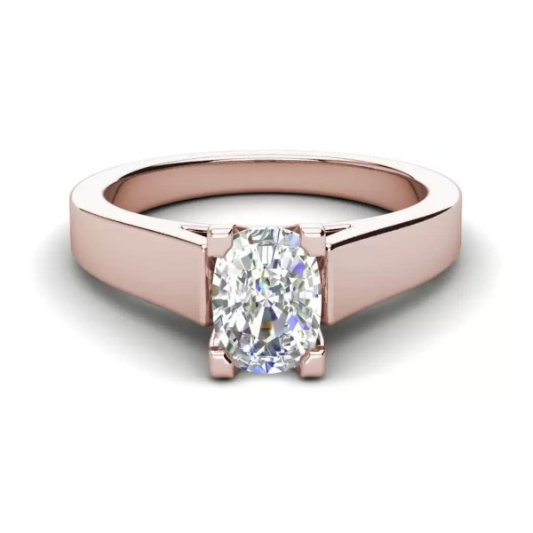 Cathedral 2.5 Carat SI1 Clarity D Color Oval Cut Diamond Engagement Ring Rose Gold 3