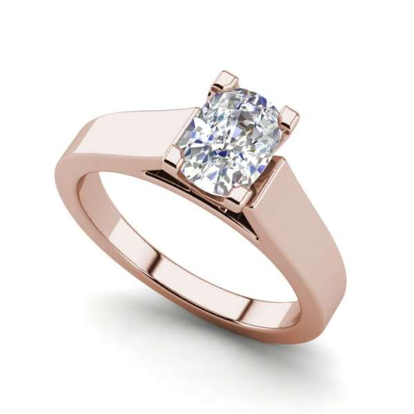 Cathedral 2.5 Carat VS1 Clarity F Color Oval Cut Diamond Engagement Ring Rose Gold
