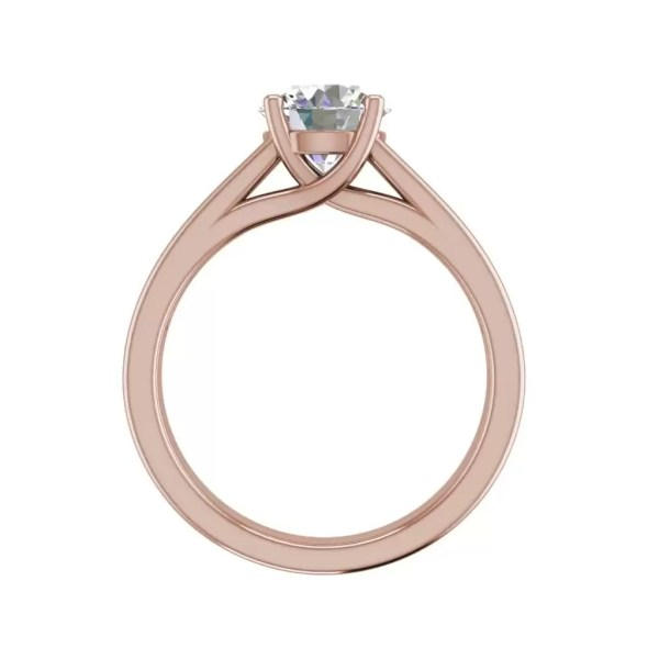 Channel Set 2.75 Carat VVS1 Clarity D Color Round Cut Diamond Engagement Ring Rose Gold 2