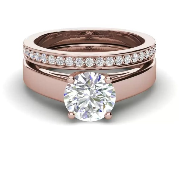 Channel Set 2.75 Carat VVS1 Clarity D Color Round Cut Diamond Engagement Ring Rose Gold 3