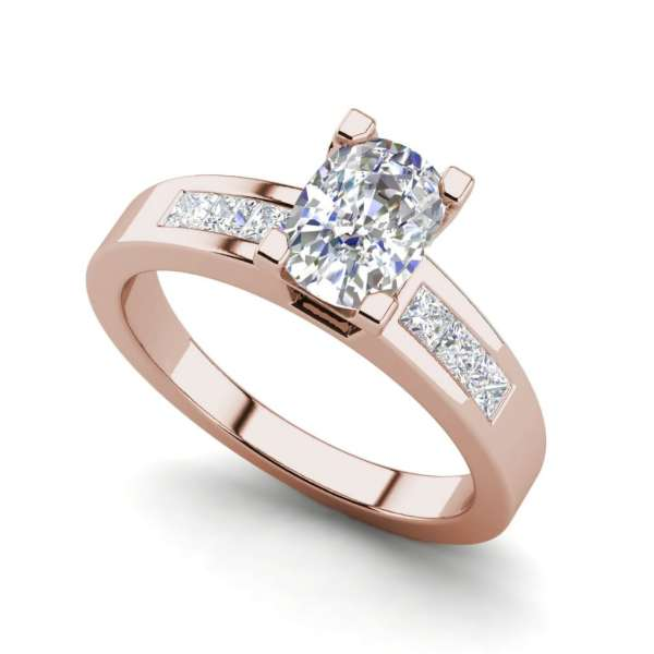 Channel Set 3.45 Carat VS2 Clarity D Color Oval Cut Diamond Engagement Ring Rose Gold