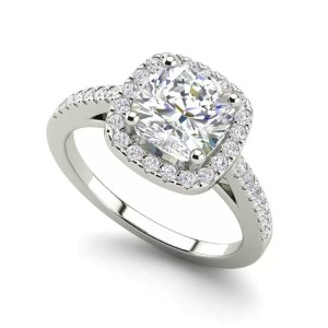 Halo 1.45 Carat VS2 Clarity F Color Cushion Cut Diamond Engagement Ring White Gold
