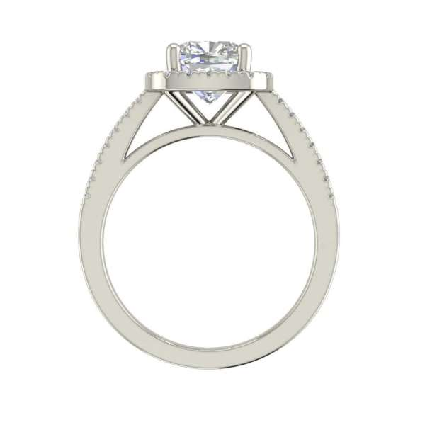 Halo 1.7 Carat VS2 Clarity F Color Cushion Cut Diamond Engagement Ring White Gold 2