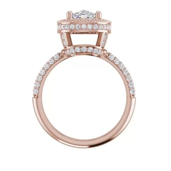 Halo 2.25 Carat VS2 Clarity F Color Cushion Cut Diamond Engagement Ring Rose Gold 2