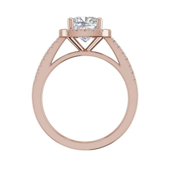 Halo 2.7 Carat VS1 Clarity F Color Cushion Cut Diamond Engagement Ring Rose Gold 2