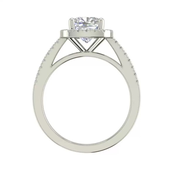 Halo 2.95 Carat VS2 Clarity H Color Cushion Cut Diamond Engagement Ring White Gold 2