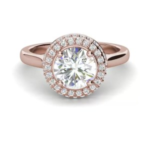 Halo Pave 1.15 Carat SI1 Clarity D Color Round Cut Diamond Engagement Ring Rose Gold 3