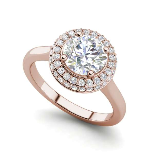 Halo Pave 1.15 Carat SI1 Clarity D Color Round Cut Diamond Engagement Ring Rose Gold