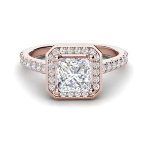 Halo Pave 2.45 Carat VS2 Clarity D Color Princess Cut Diamond Engagement Ring Rose Gold 3