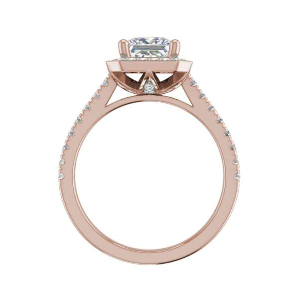 Halo Pave 2.45 Carat VS2 Clarity D Color Princess Cut Diamond Engagement Ring Rose Gold2