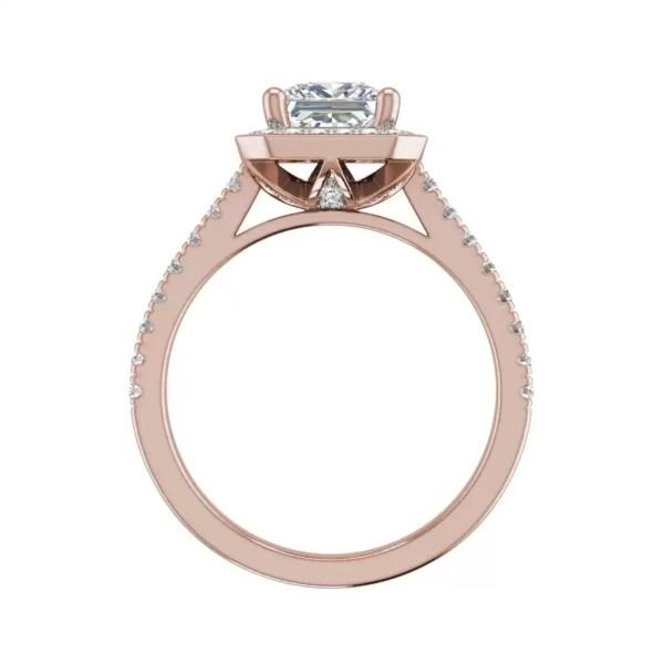 Halo Pave 2.45 Carat VS2 Clarity D Color Princess Cut Diamond Engagement Ring Rose Gold2
