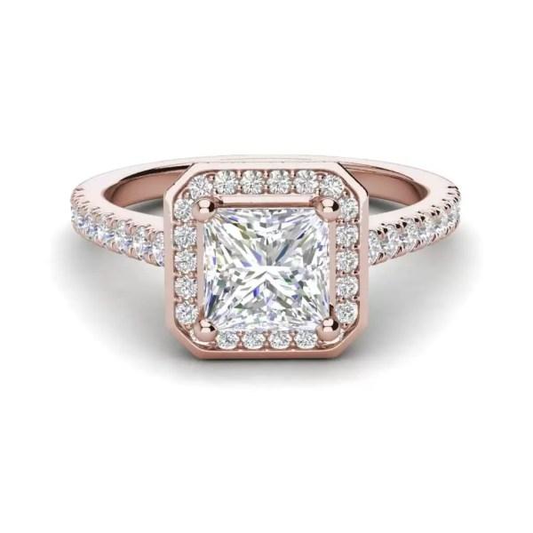Halo Pave 2.95 Carat VS1 Clarity H Color Princess Cut Diamond Engagement Ring Rose Gold 3