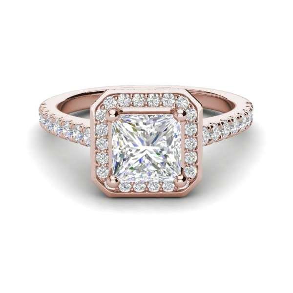 Halo Pave 3.2 Carat VS1 Clarity D Color Princess Cut Diamond Engagement Ring Rose Gold 3