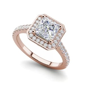 Halo Pave 3.2 Carat VS1 Clarity D Color Princess Cut Diamond Engagement Ring Rose Gold