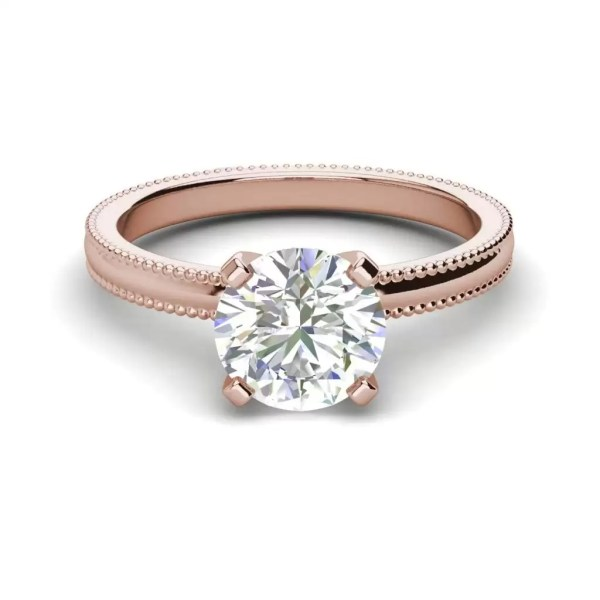 Milgrain Solitaire 0.75 Ct SI1 Clarity F Color Round Cut Diamond Engagement Ring Rose Gold 3
