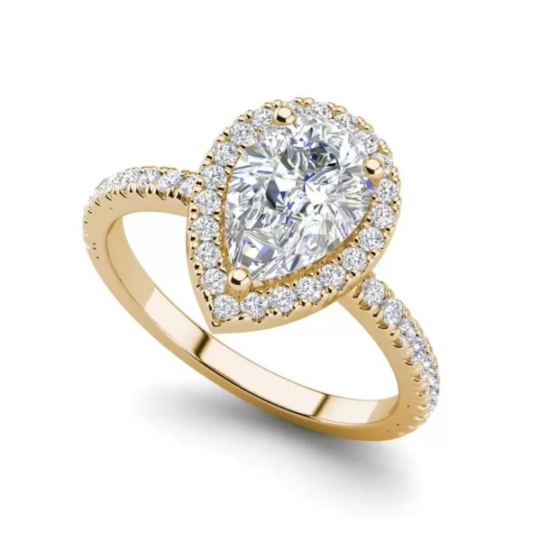 Pave Halo 1.7 Carat VS2 Clarity D Color Pear Cut Diamond Engagement Ring Rose Gold