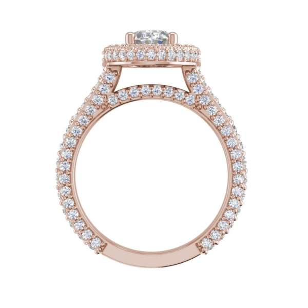 Pave Halo 2.1 Carat VS2 Clarity F Color Oval Cut Diamond Engagement Ring Rose Gold 2