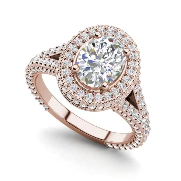Pave Halo 2.1 Carat VS2 Clarity F Color Oval Cut Diamond Engagement Ring Rose Gold